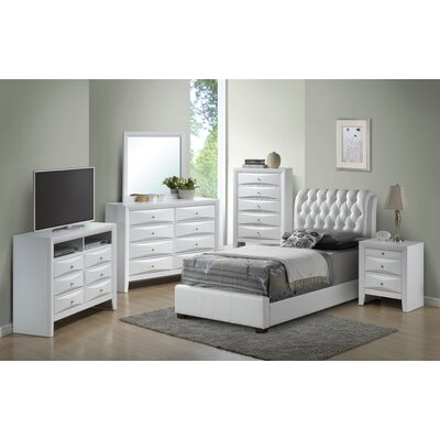 Medford Upholstered Panel Bed Size: Twin, Color: White
