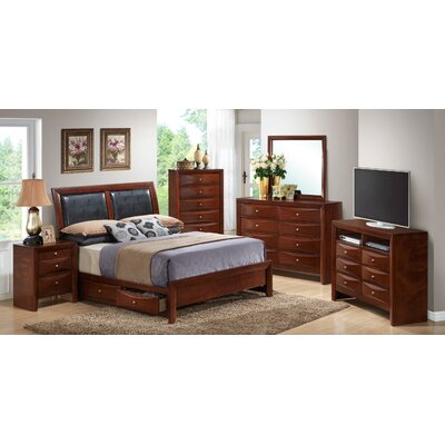 Leonis Storage Upholstered Platform Bed Size: Full, Finish: Cherry