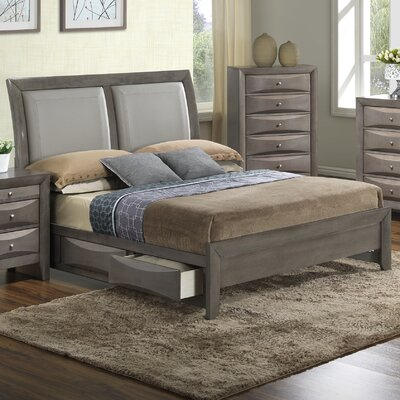 Leonis Storage Upholstered Platform Bed Size: Queen, Finish: Gray