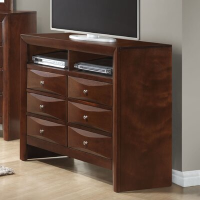 Leonis 6 Drawer Media Chest Color: Cherry
