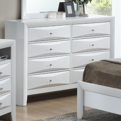 Leonis 8 Drawer Double Dresser Color: White