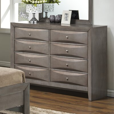 Leonis 8 Drawer Double Dresser Color: Gray