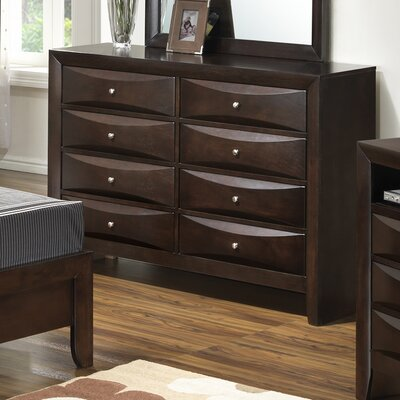 Leonis 8 Drawer Double Dresser Color: Cappaccino