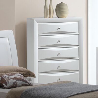 Leonis 5 Drawer Chest Color: White