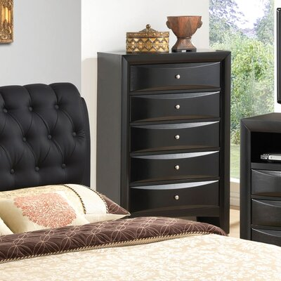 Leonis 5 Drawer Chest Color: Black