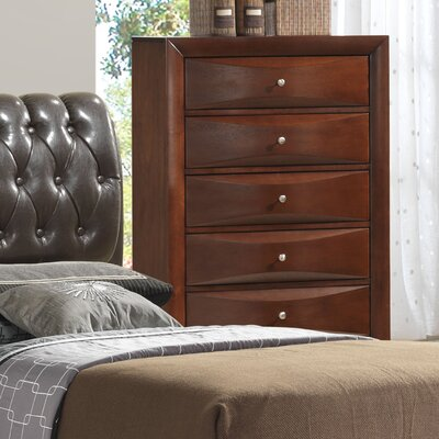 Leonis 5 Drawer Chest Color: Cherry