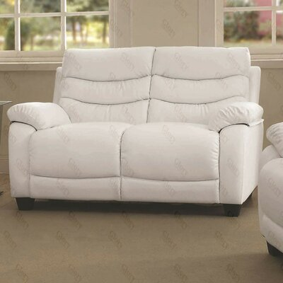 Ohboke Loveseat Leather Color: White