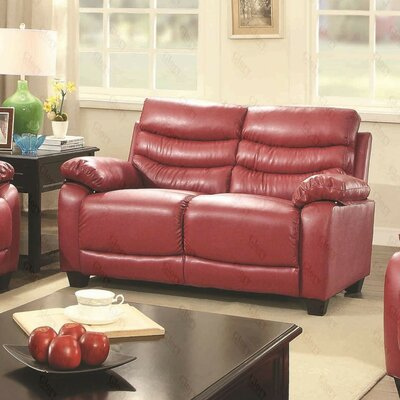 Ohboke Loveseat Leather Color: Red