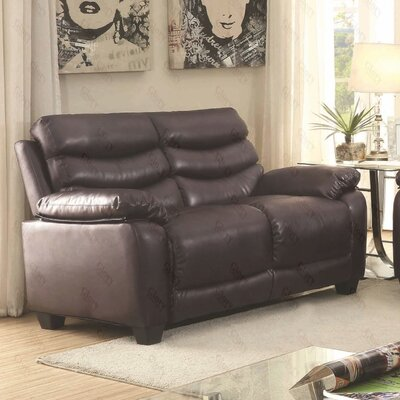 Ohboke Loveseat Leather Color: Dark Brown