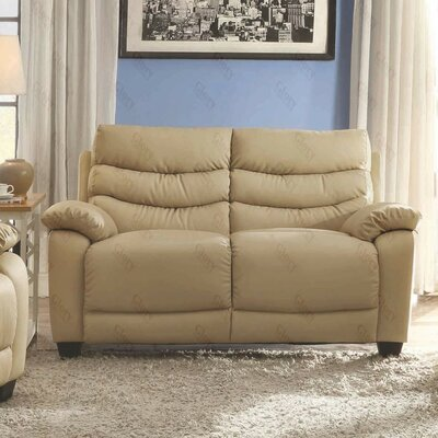 Ohboke Loveseat Leather Color: Beige