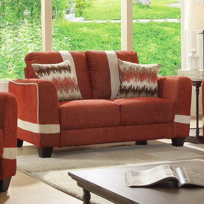 Lundia Loveseat Upholstery Color: Red/Beige