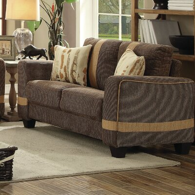 Lundia Loveseat Upholstery Color: Brown/Beige