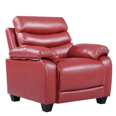 Ohboke Club Chair Leather Color: Red