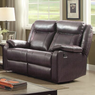 Leo Minor Double Reclining Loveseat Upholstery: Dark Brown