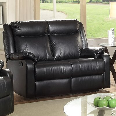 Roudebush Double Reclining Loveseat Upholstery: Black