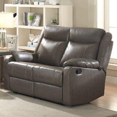 Leo Minor Double Reclining Loveseat Upholstery: Gray