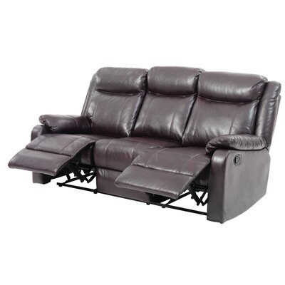 Leo Minor Double Reclining Leather Sofa Upholstery: Dark Brown