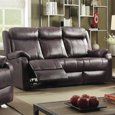Roudebush Double Leather Reclining Sofa Upholstery: Dark Brown