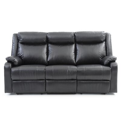 Leo Minor Double Reclining Leather Sofa Upholstery: Black