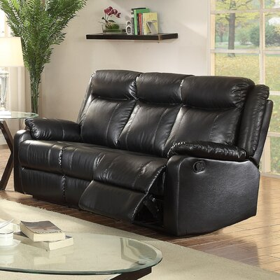 Leo Minor Double Leather Reclining Sofa Upholstery: Black