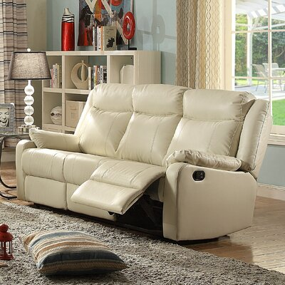 Leo Minor Double Leather Reclining Sofa Upholstery: Pearl