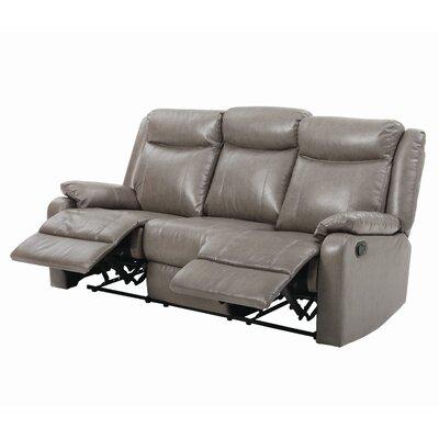 Leo Minor Double Reclining Leather Sofa Upholstery: Gray