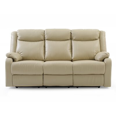 Leo Minor Double Reclining Leather Sofa Upholstery: Putty