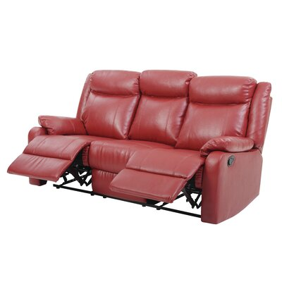 Leo Minor Double Reclining Leather Sofa Upholstery: Red