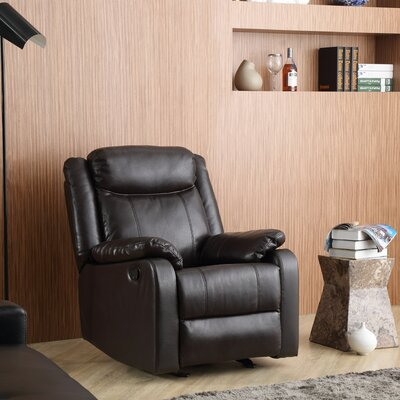 Leo Minor Rocker Recliner Upholstery: Dark Brown