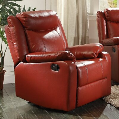 Leo Minor Rocker Recliner Upholstery: Red