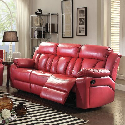 Pavonis Reclining Sofa Color: Red