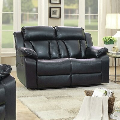 Pavonis Reclining Loveseat Upholstery: Black