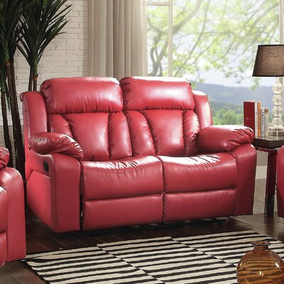 Pavonis Reclining Loveseat Color: Red