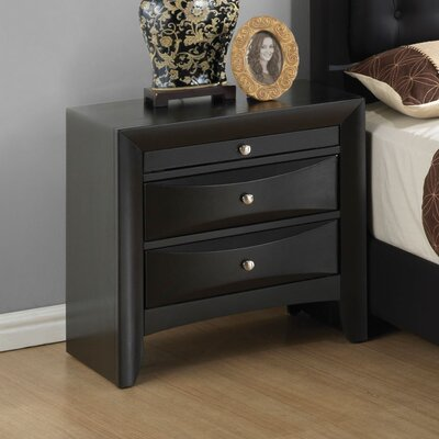 Leonis 3 Drawer Nightstand Finish: Black