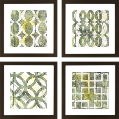 Green Lattice Patterns 4 Piece Framed Graphic Art Set