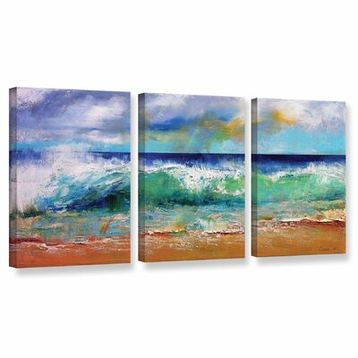 Ocean Waves 3 Piece Painting Print on Wrapped Canvas Set Size: 18