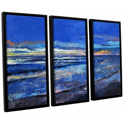 Midnight Blue 3 Piece Framed Painting Print on Canvas Set