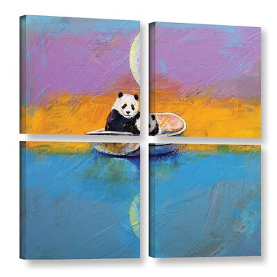 Panda Lake 4 Piece Painting Print on Wrapped Canvas Set Size: 36