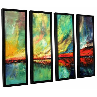 Aurora 4 Piece Framed Painting Print on Canvas Set Size: 24