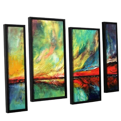 Aurora 4 Piece Framed Painting Print on Canvas Set