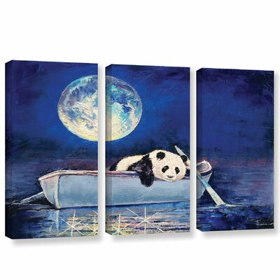 Panda Blue Moon 3 Piece Painting Print on Wrapped Canvas Set