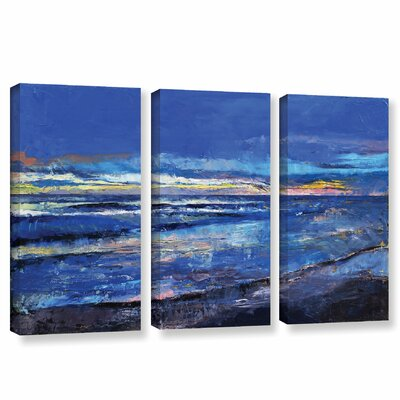 Midnight Blue 3 Piece Painting Print on Wrapped Canvas Set