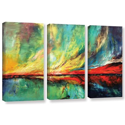 Aurora 3 Piece Painting Print on Wrapped Canvas Set