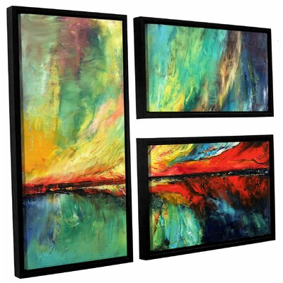 Aurora 3 Piece Framed Painting Print on Canvas Set