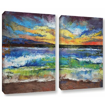 'Seascape' by Michael Creese 2 Piece Painting Print on Wrapped Canvas Set Size: 18