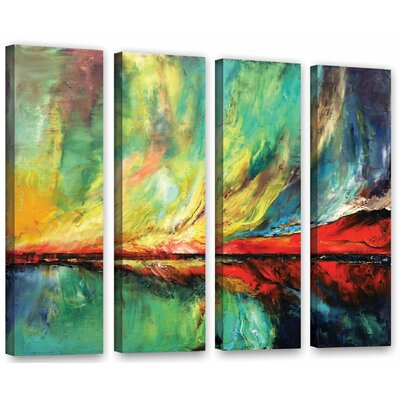 Aurora 4 Piece Painting Print on Wrapped Canvas Set