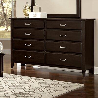 Aker 8 Drawer Double Dresser Finish: Merlot