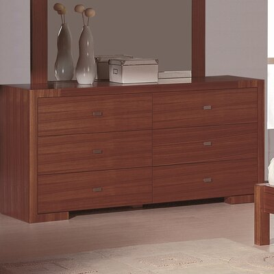 Jerome 6 Drawer Double Dresser Finish: Teak