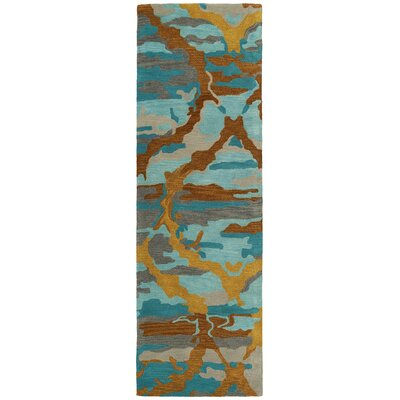 Virginis Teal Area Rug Rug Size: Runner 26 x 8