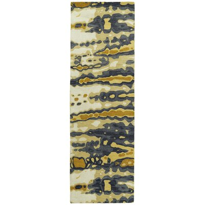 Virginis Gold/Gray Area Rug Rug Size: Runner 26 x 8